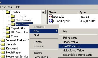 Editing ITBar7Position registry key value