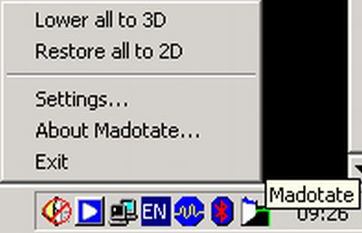 Configure Madotate 3D windows and transparency effects.