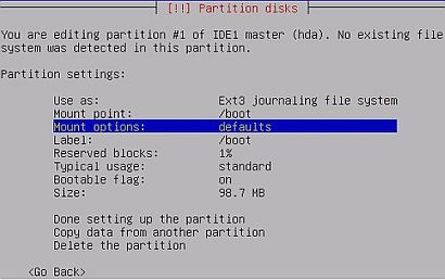 Debian Sarge installer allows user to tweak file system reserved block count during Debian installation