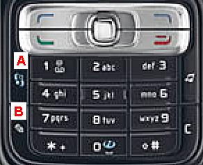 Nokia N-Series smartphone keypad functions. This is a screen-shot of Nokia N73 keypad that is running on Symbian OS S60 3rd Edition user interface.