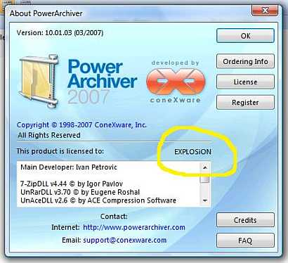 Power Archiver 2007 v10.01.03 serial number cracked when Explosion leak the Power Achiver
