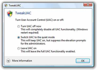 TweakUAC is a Vista-compatible freeware utility that is used to easily turn off or enable Windows Vista UAC, or to enable the Vista UAC and suppress the annoying privilege prompt.