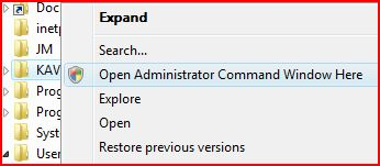 Right-click on a folder or drive, click the new Open Administrator Command Window Here option in the pop-up context menu, which will open Windows Vista command prompt at the specific folder - the folder being right-click - with elevated privilege! This is the most convenient and efficient way of using Vista Command Prompt options - compiling my C#, C, or Java source codes in command line has never been such easier!