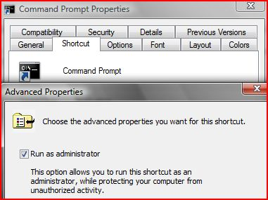 Create a Vista Command Prompt shortcut with elevated privilege or administrator privilege.