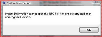 How to open NFO file, a warez information file type, without using the default Windows System Information program in Windows Vista?