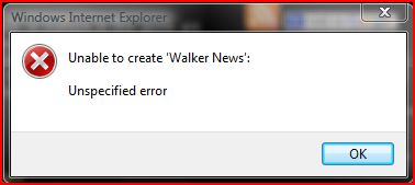 IE7 pop up error message Unspecified error when I add WalkerNews.net to IE Favorite!