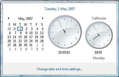 Windows Vista additional clocks feature is used to display multiple date-time of other time zone, in additional to the default local time zone.
