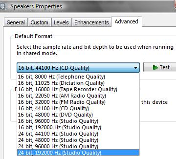 Setting a extremely high bit-rate and bit-depth playback format in Windows Vista Speaker properties will cause no sound playback in both Windows Media Player 11, WMP 11, and DreamScene video file in Windows Vista.