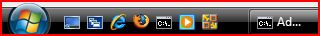 Windows Vista new Start button that called Vista Start Orb, the IE-installed Quick Launch toolbar, and Windows task-button in Windows Taskbar
