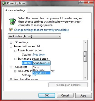 How to tweak or change the default power management action of Vista Computer Power button and Vista Start menu  power button?
