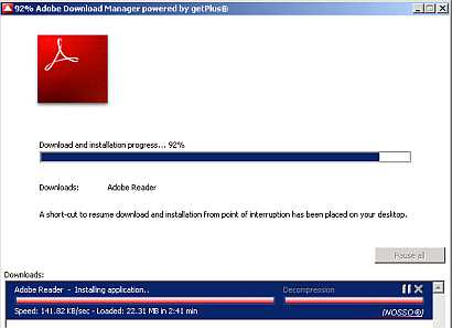 Adobe Download Manager will pop up to manage Adobe Reader download and installation.