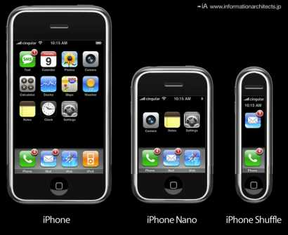 Apple fans imagination on Steve Jobs next possible masterpiece of revolutionary smartphone for the 21st century - the iPhone Nano and iPhone Shuffle.