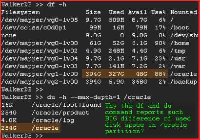 Why the Linux df and du command reports such big difference of used disk space or free disk space?