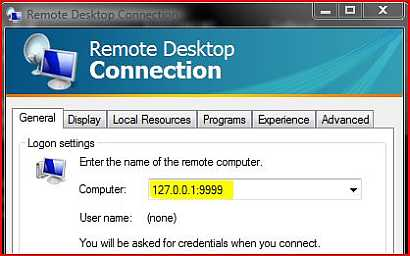 Remote Desktop port forwarding in Windows Vista using Putty SSH client.