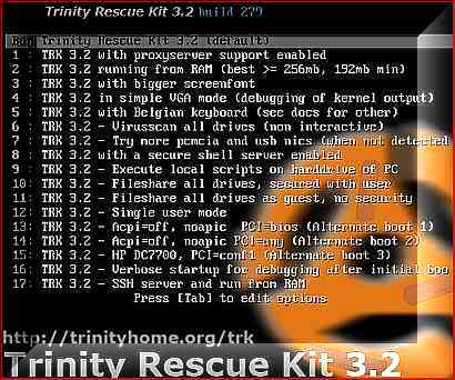 Trinity Rescue Kit or TRK is a tiny Linux distribution that used to repair or recover both Linux and Windows operating system, including reset or crack Windows Vista administrator account password.