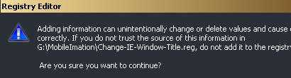 Edit Windows Registry window title key to customize IE window title text.
