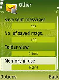 How to change Nokia N73 Messaging settings so that SMS messages are stored to memory card and not phone memory?