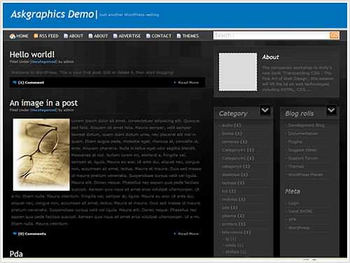DivCubs is another black color, fixed-width, 3-column WordPress theme for November 2007