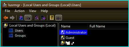 An additional down-arrow icon is display on Vista user accounts that are disabled.