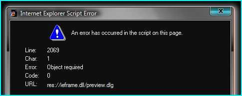 Vista IE7 pop up Internet Explorer Script Error that object required is not exists at line 2069.