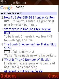How to view WalkerNews.net in Nokia N73 mobile web browser?