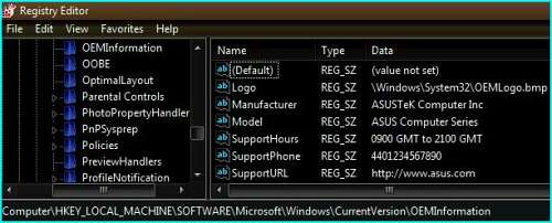 Windows Registry keys that show OEM Logo and related information on Vista SP1 System Properties window