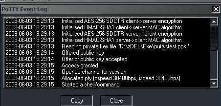 Refer to Putty Event Log window to troubleshoot password-less SSH login related problem.