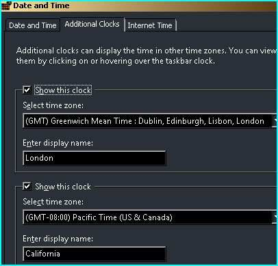 How to enable multiple clocks display in Windows Vista?