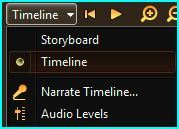 Switching between Timeline and Storyboard view in Windows Movie Maker