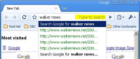 Access to web search engine service is easy in Google Chrome.
