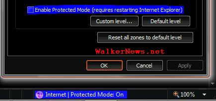 How to turn off or disable IE 7 Protected Mode?