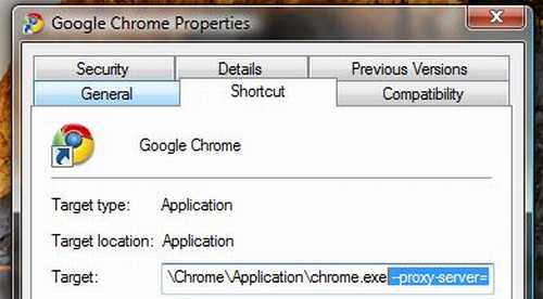 Independent Google Chrome proxy server setting.
