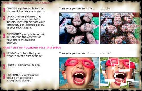 PixiSnap - online web service to create mosaic or Polaroid effects on photos.