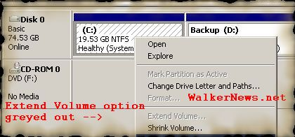 How to extend Windows Vista system partition with the built-in Disk Management tool?