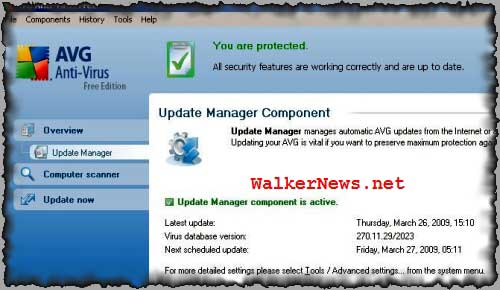 AVG Anti-virus Free edition supports auto-update feature where the antivirus software will automatically update virus definition according to schedule.
