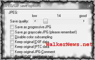 JPG image saving options, i.e. the JPEG compression ratio or view quality.