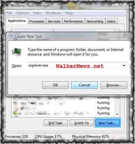 How to restart or start a new explorer.exe process?