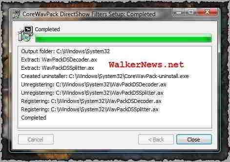Download WavPack DirectShow filter to playback WV media file.