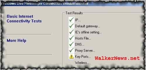 Windows Live Messenger Connection TroubleShooter shows Key Ports failure