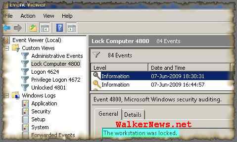 Customize Windows Event Viewer to display only the lock computer event.