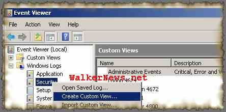 Create filter in Windows Event Viewer to display only the interested events to user.