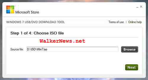 Windows 7 USB DVD Download Tool - select Windows 7 ISO image file.