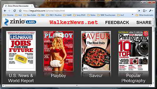 Change Google Chrome user agent string to Apple Mobile Safari to read iPhone free magazine in a big Desktop LCD screen.