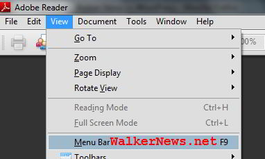 Restore Adobe Reader menu bar