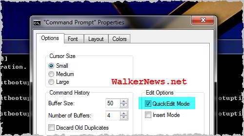 Tweak Command Prompt copy and paste function in Windows 7.