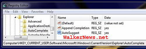 Registry key to enable Auto-complete and auto-suggest file name feature in Windows 7.