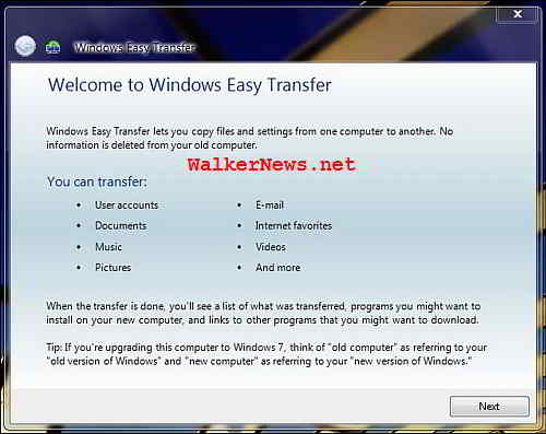 Windows Easy Transfer in Windows 7