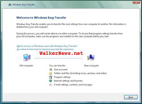 Windows Easy Transfer Program welcome screen