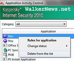 Delete old and unwanted firewall filtering rule from Kaspersky IS 2010