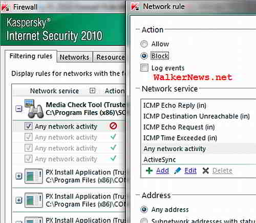 Add your own firewall filtering rule to supersede default firewall rule defined by Kaspersky IS 2010